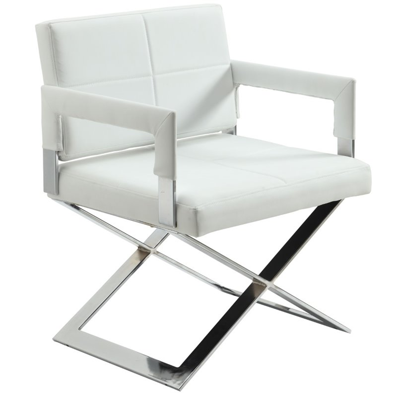 Chintaly Oversized Accent Chair In Chrome And White