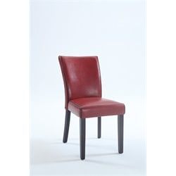 Chintaly Bonded Leather Dining Chair in Satin Black and Red