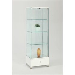 Chintaly Glass Curio in Gloss White