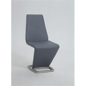Chintaly Z Shaped Dining Chair in Brushed Nickel and Gray