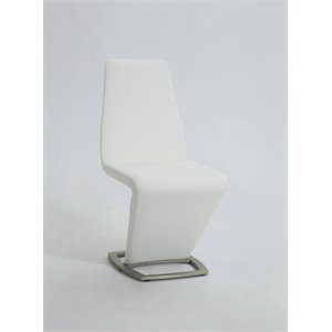 Chintaly Z Shaped Dining Chair in Brushed Nickel and White