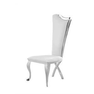 Chintaly Tall-Back Dining Chair Set in White (Set of 2)