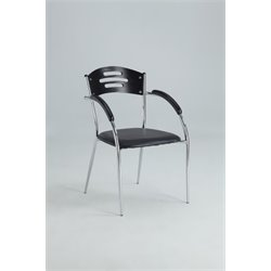 Chintaly Solid Rubber Wood Dining Arm Chair in Black