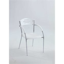 Chintaly Solid Rubber Wood Dining Arm Chair in White