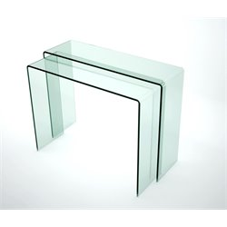 Chintaly 2 Piece Console Table in Clear Glass