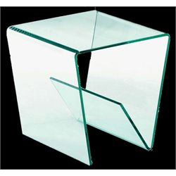 Chintaly Square Bent End Table in Clear Glass