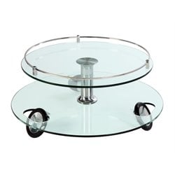 Chintaly Swivel Top Stationary Wheels in Glass and Chrome