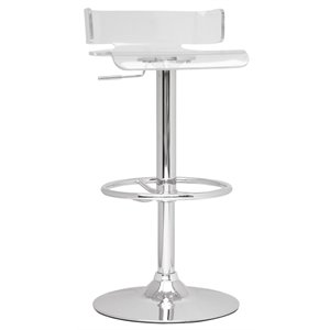 Chintaly Pneumatic Swivel Bar Stool in Clear Acrylic