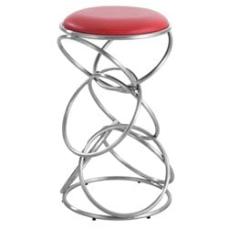 Chintaly Multi Ring Stainless Steel Counter Stool in Red