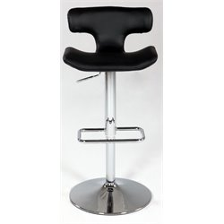 Chintaly Pneumatic Swivel Bar Stool in Chrome and Black