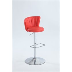 Chintaly Pneumatic Stitched Fan Back Design Bar Stool in Red
