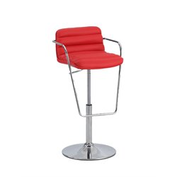 Chintaly Pneumatic Ribbed Pattern Bar Stool in Red