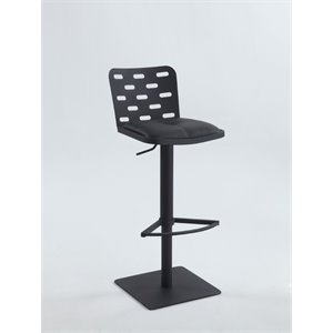 Chintaly Pneumatic Swivel Bar Stool in Brushed Stainless Steel