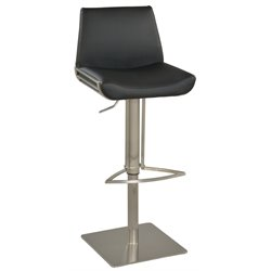 Chintaly Pneumatic Bar Stool in Brushed Stainless Steel and Black