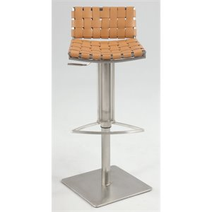 Chintaly Pneumatic Leather Swivel Bar Stool in Camel