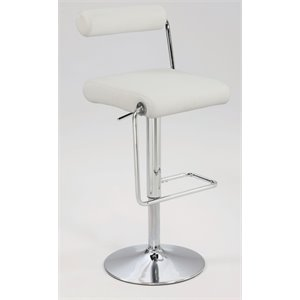 Chintaly Pneumatic Swivel Bar Stool in Chrome and White