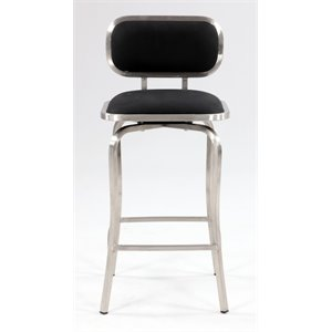Chintaly Swivel Counter Stool in Brushed Stainless Steel and Black