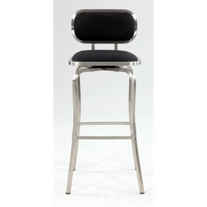 Chintaly Swivel Bar Stool in Brushed Stainless Steel and Black