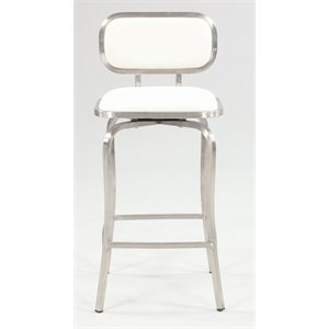 Chintaly Swivel Bar Stool in Brushed Stainless Steel and White
