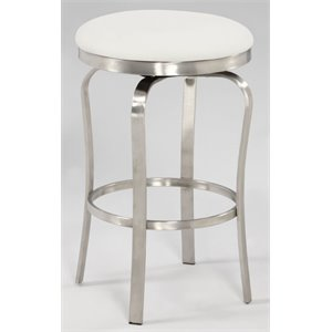Chintaly Counter Stool in Brushed Stainless Steel and White