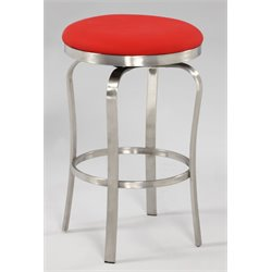 Chintaly Counter Stool in Brushed Stainless Steel and Red