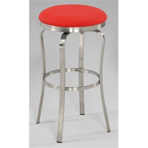 Chintaly Bar Stool in Brushed Stainless Steel and Red