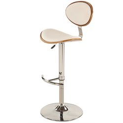 Chintaly Pneumatic Bar Stool in Chrome and Walnut