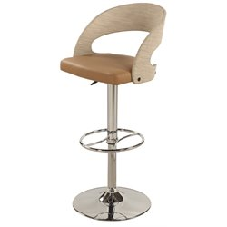 Chintaly Curved Round Back Pneumatic Bar Stool in Khaki