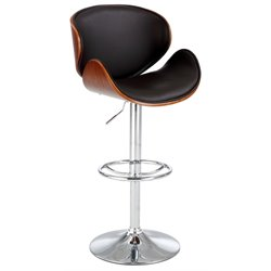 Chintaly Pneumatic Swivel Bar Stool in Walnut and Brown