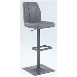 Chintaly Pneumatic Stitched Back Bar Stool in Antique Gray