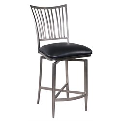 Chintaly Swivel Counter Stool in Nickel Plated and Black