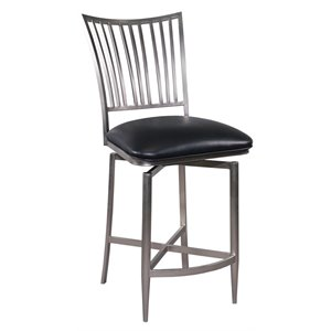 Chintaly Swivel Bar Stool in Nickel Plated and Black