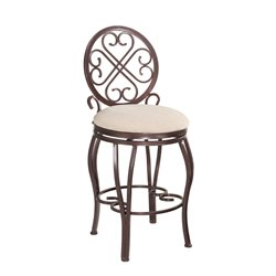 Chintaly Swivel Bar Stool in Hammered Brown and Taupe