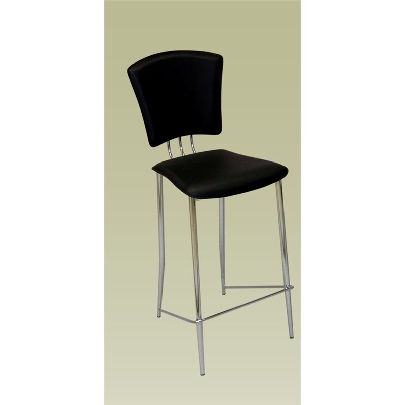 Chintaly Counter Stool In Chrome And Black Tracy Cs Blk