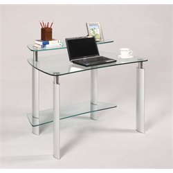 Chintaly Imports Home Office Desk in Silver and Chrome
