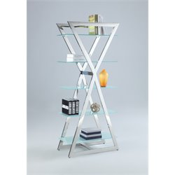 Chintaly 4 Shelf Bookcase in Clear Glass