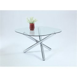 Chintaly Imports Round Dining Table in Chrome
