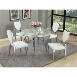 Chintaly Imports Glass Top Round Dining Table in Chrome