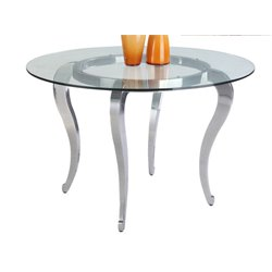 Chintaly Imports Mirror Top Round Dining Table in Chrome