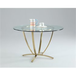 Chintaly Imports Round Dining Table in Stainless Steel and Brass