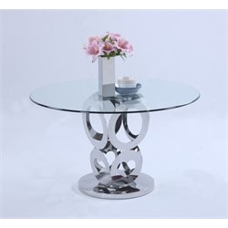 Chintaly Imports Round Dining Table in Stainless Steel