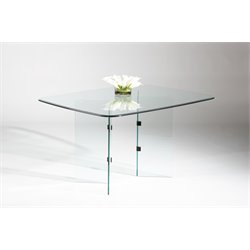 Chintaly Imports V Base Dining Table in Chrome