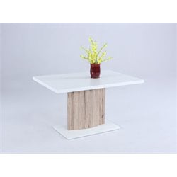 Chintaly Imports Dining Table in White and Light Oak