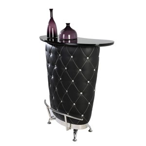 Chintaly Imports Nolita Faux Leather Home Bar