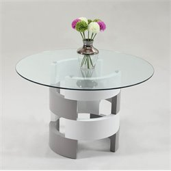 Chintaly Imports Sunny Round Glass Top Dining Table in White and Gray