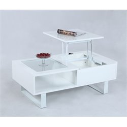 Chintaly Imports Lift Top Coffee Table in Glossy White