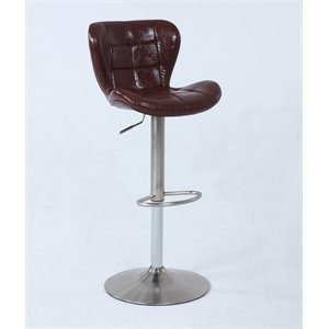 Chintaly Imports Faux Leather Upholstered Adjustable Bar Stool 1