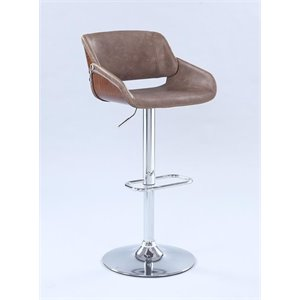 Chintaly Imports Faux Leather Adjustable Swivel Bar Stool in Brown