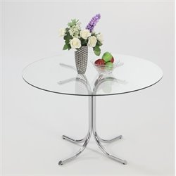 Chintaly Imports Cece Round Glass Top Dining Table