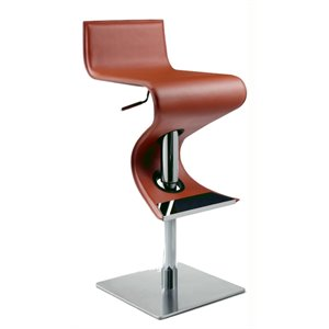 Chintaly Leather Pneumatic Swivel Bar Stool in Rust